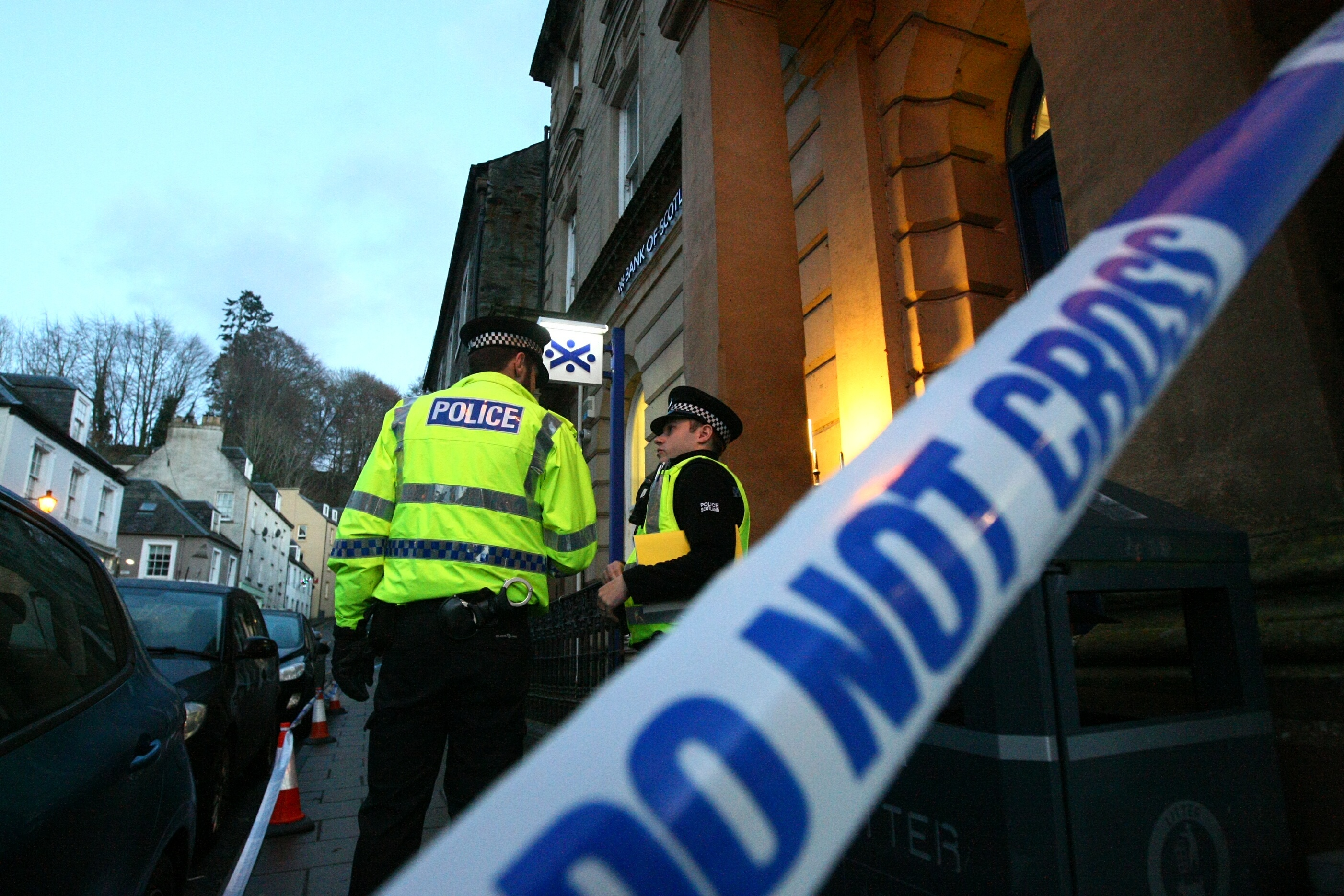 A police cordon was thrown around the Bank of Scotland in Dunkeld.