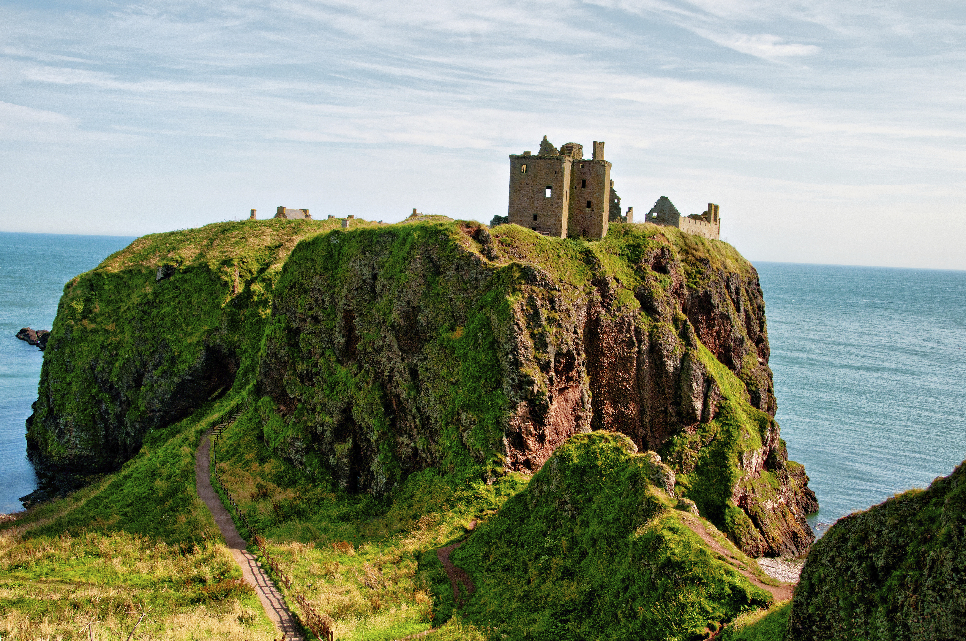The stunning scenery at Dunnottar Castle, which is around 3km south of Stonehaven.