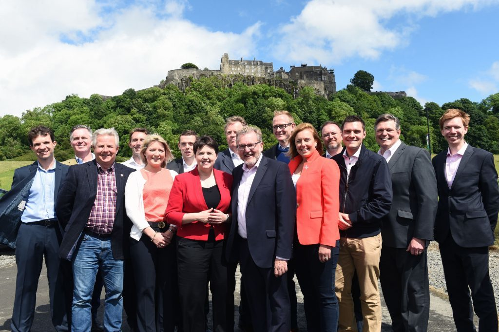 Scottish Conservative leader Ruth Davidson at a photo call with the party's newly-elected members of parliament in front of Stirling Castle.