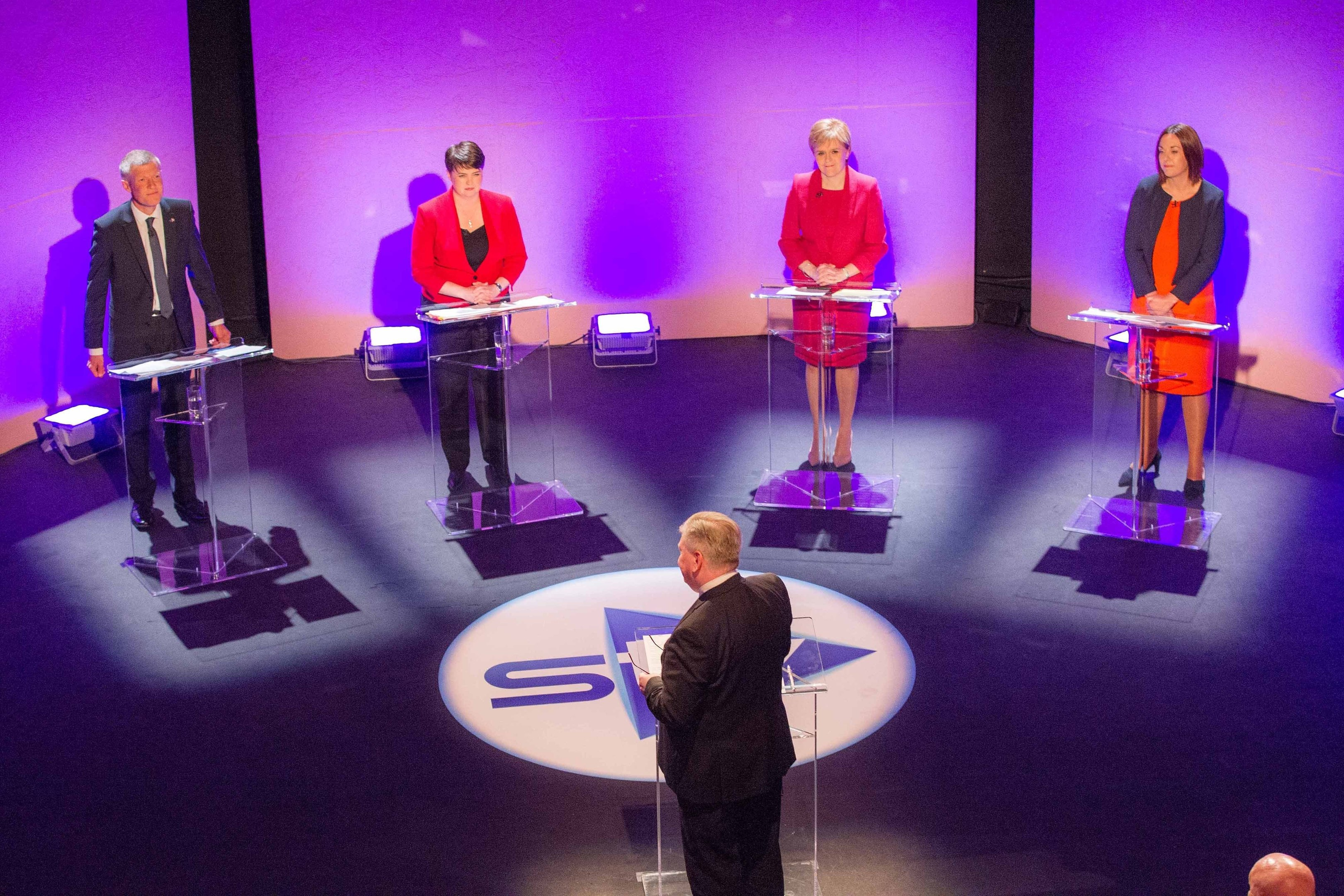 STV's political editor Bernard Ponsonby presents leaders debate with, from left, Scottish Liberal Democrat leader Willie Rennie, Scottish Conservative leader Ruth Davidson, SNP leader Nicola Sturgeon and Scottish Labour leader Kezia Dugdale.
