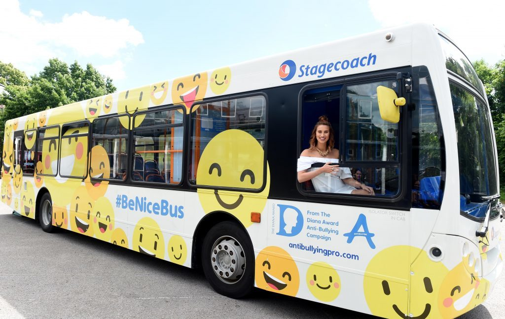 The launch of the UK's first and only anti-bullying #BeNiceBus with The Diana Award and Stagecoach, held at Kingsdale Foundation School, Alleyn Park, London. TV presenter Ferne McCann is pictured