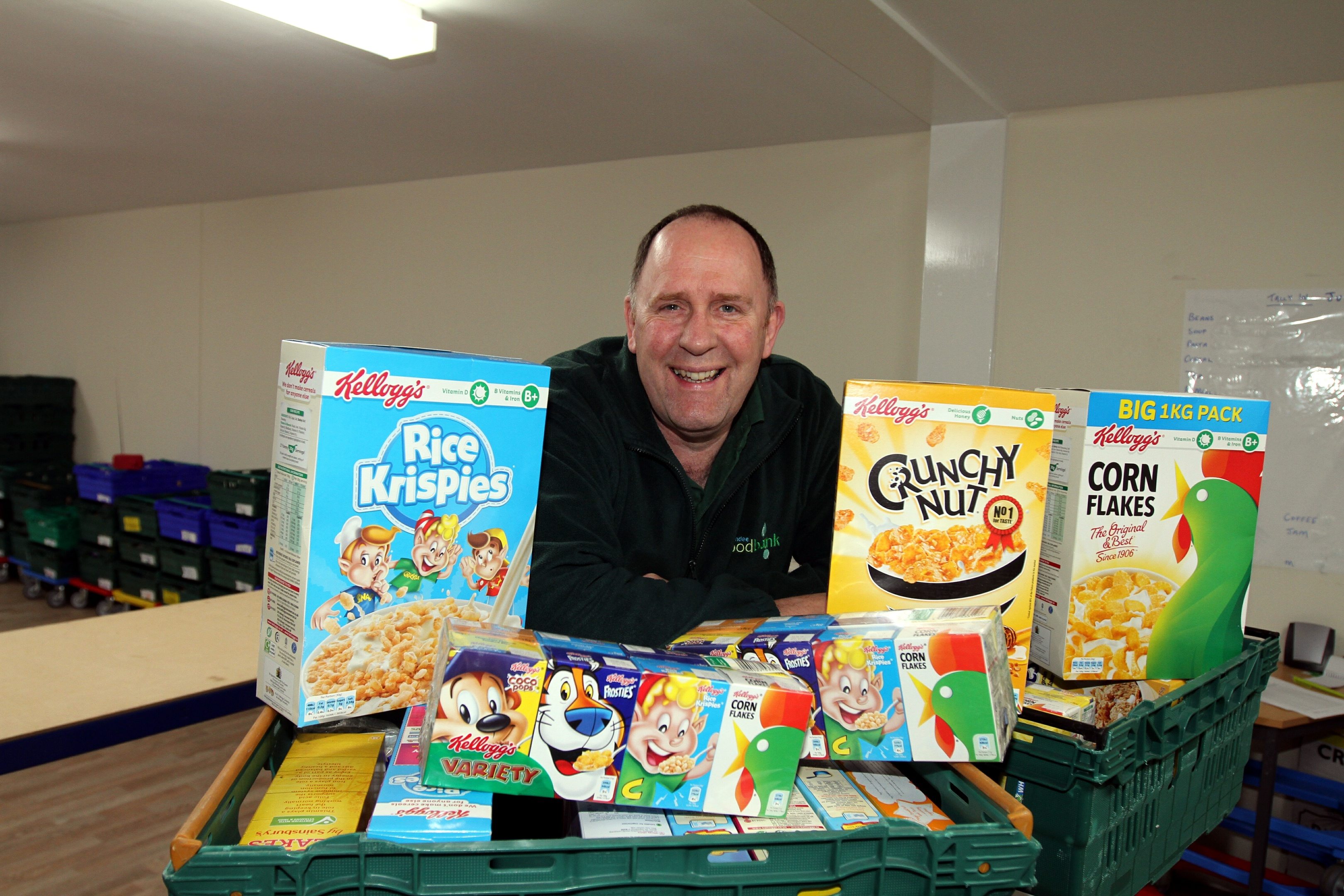 Foodbank manager Ken Linton with cereal donations.