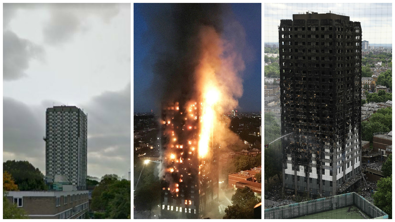 Grenfell Tower before, during and after the blaze.
