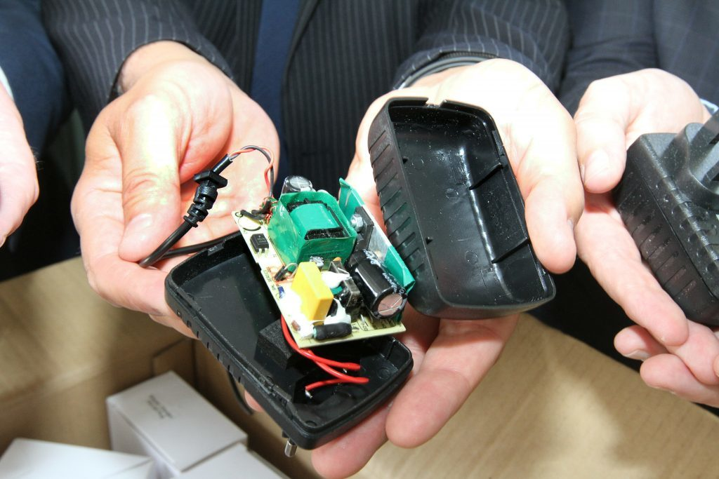 The inside of one of the chargers seized
