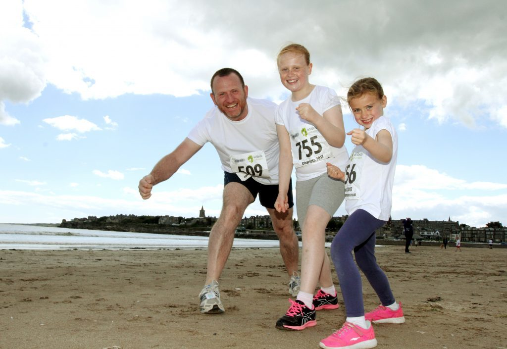 The Nicholson family from Dundee, dad Andy, Olivia and Fearne.