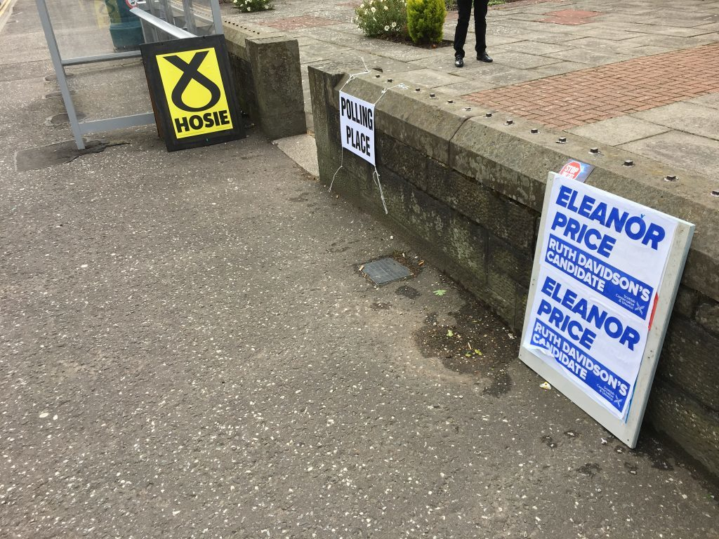 Party posters outside the Carnoustie Church polling station