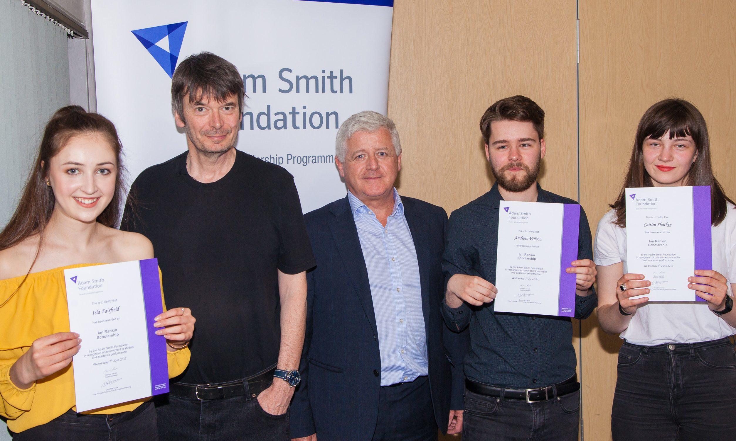 Ian Rankin, centre, with award winners Isla Fairfield, Hugh Hall, Andrew Wilson and Caitlin Sharkey
