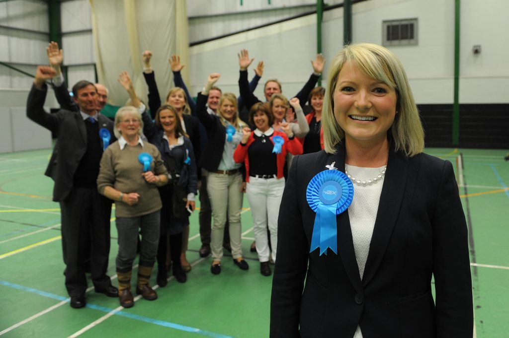 Kirstene Hair with family and supporters after being elected as MP for Angus.