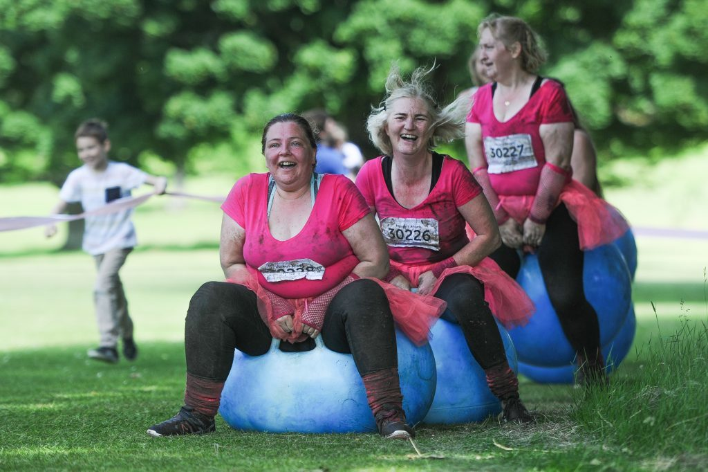 Some Race for Life participants took to space-hoppers.