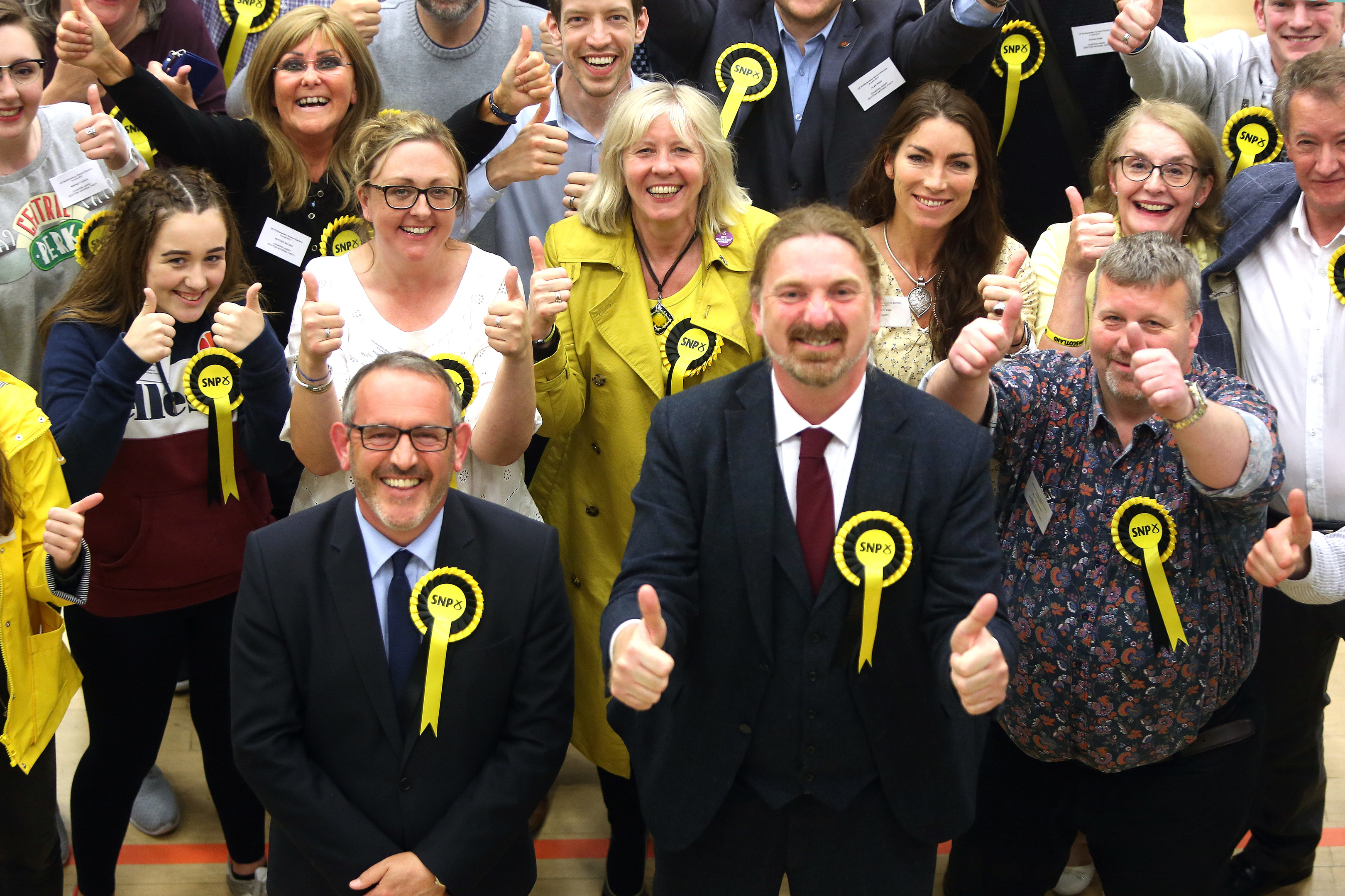 Stewart Hosie and Chris Law  with SNP supporters.