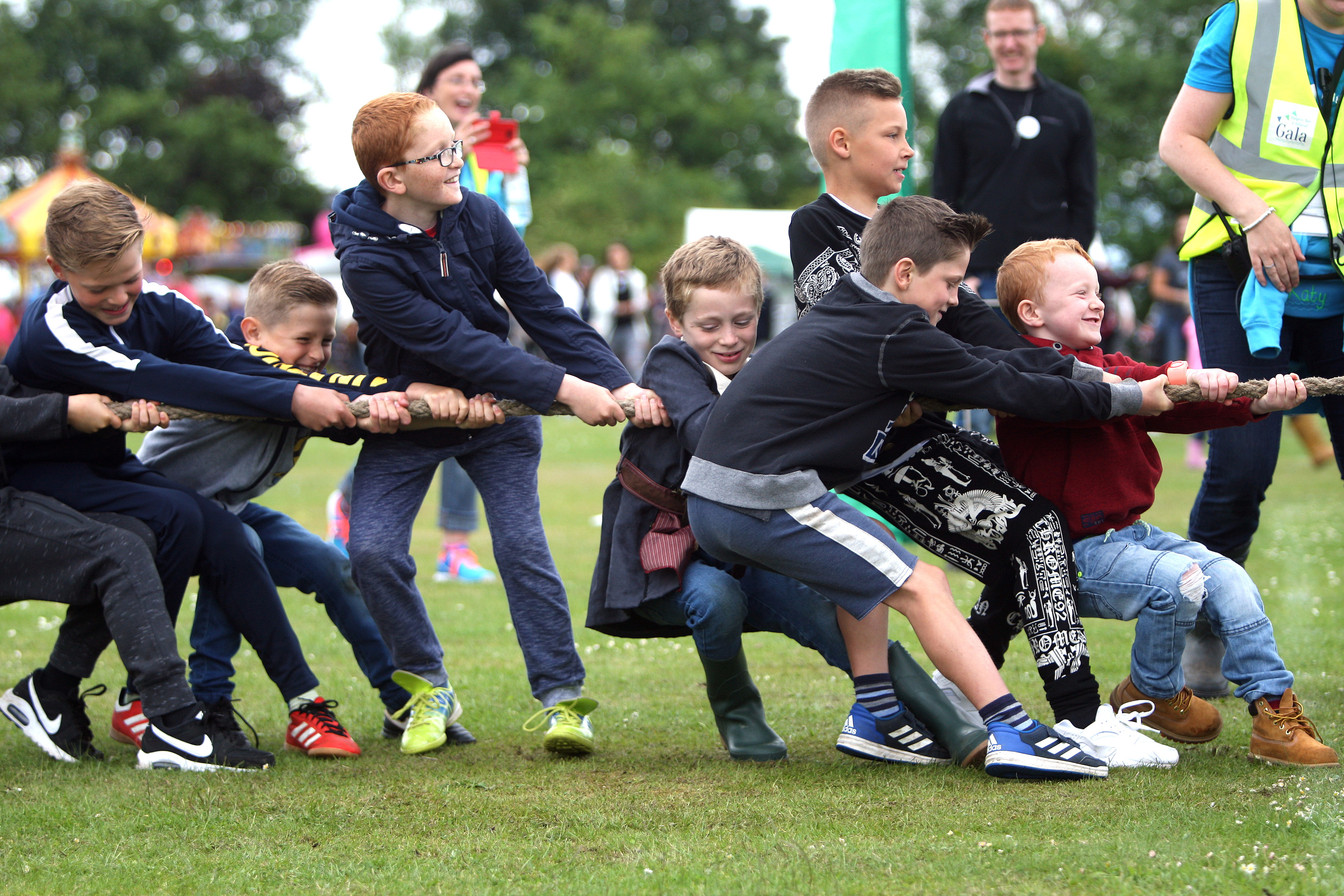 The girls v boys tug o' war at Dalgety Bay and Hillend Gala, which the girls won twice.