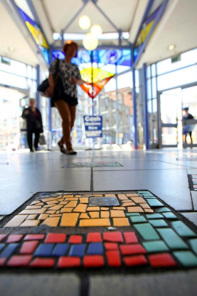 Mosaics and stained glass in Dundee Bus station.