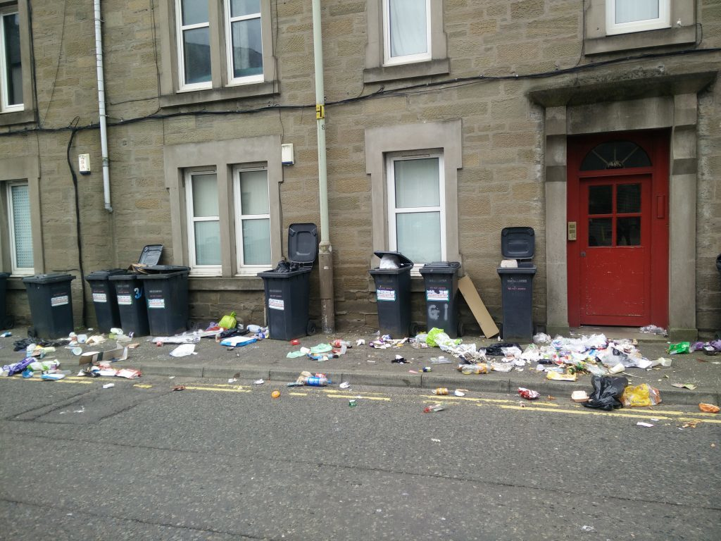 The bins were outside 46-48 Constitution Street