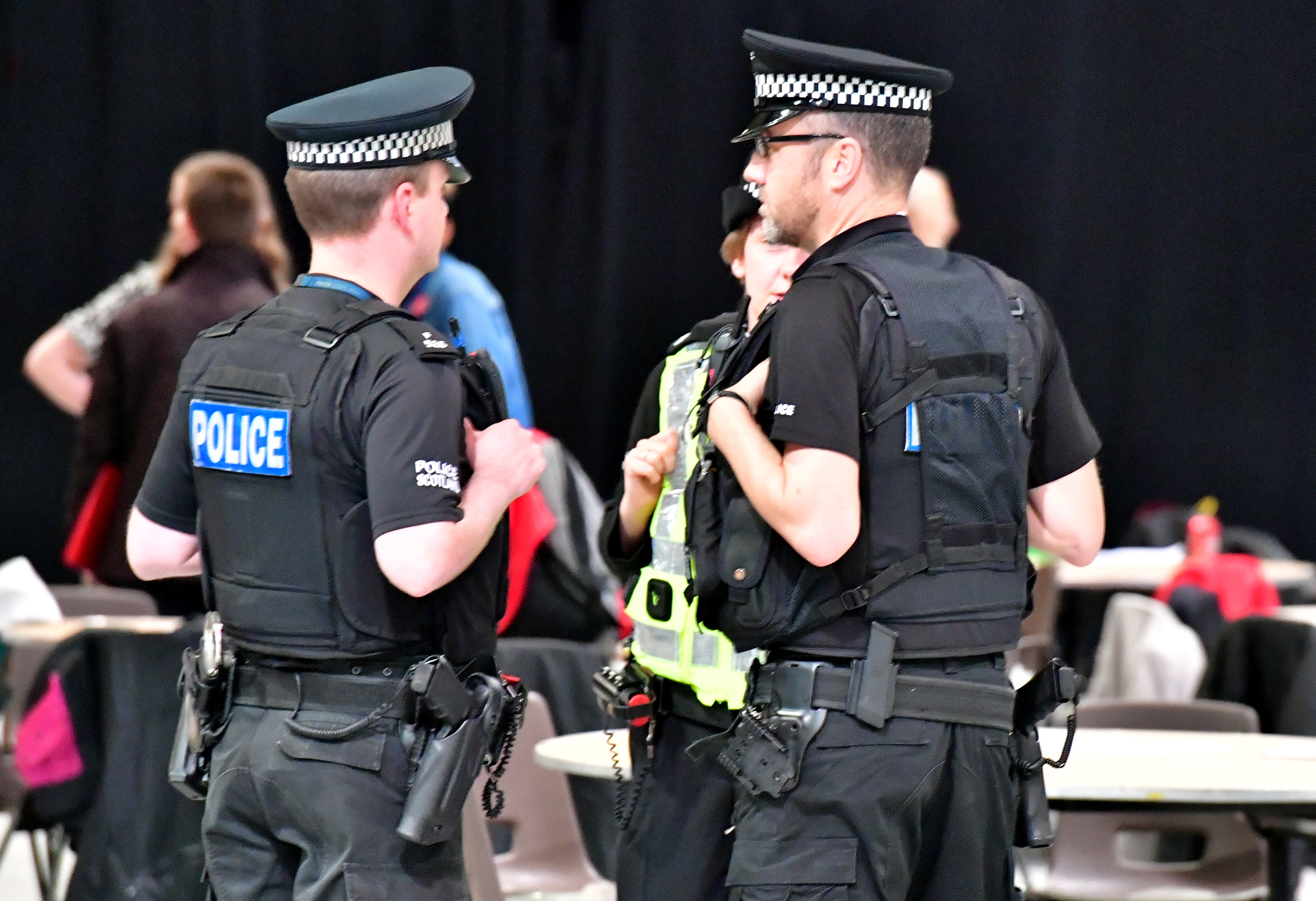 Armed Police at the count. in Aberdeen.
