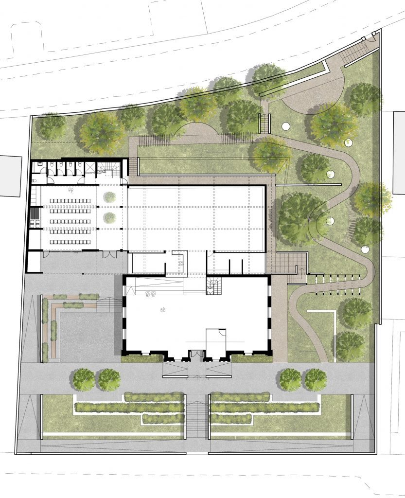 Overview of the plans showing the three gardens spaces as well as the new community area