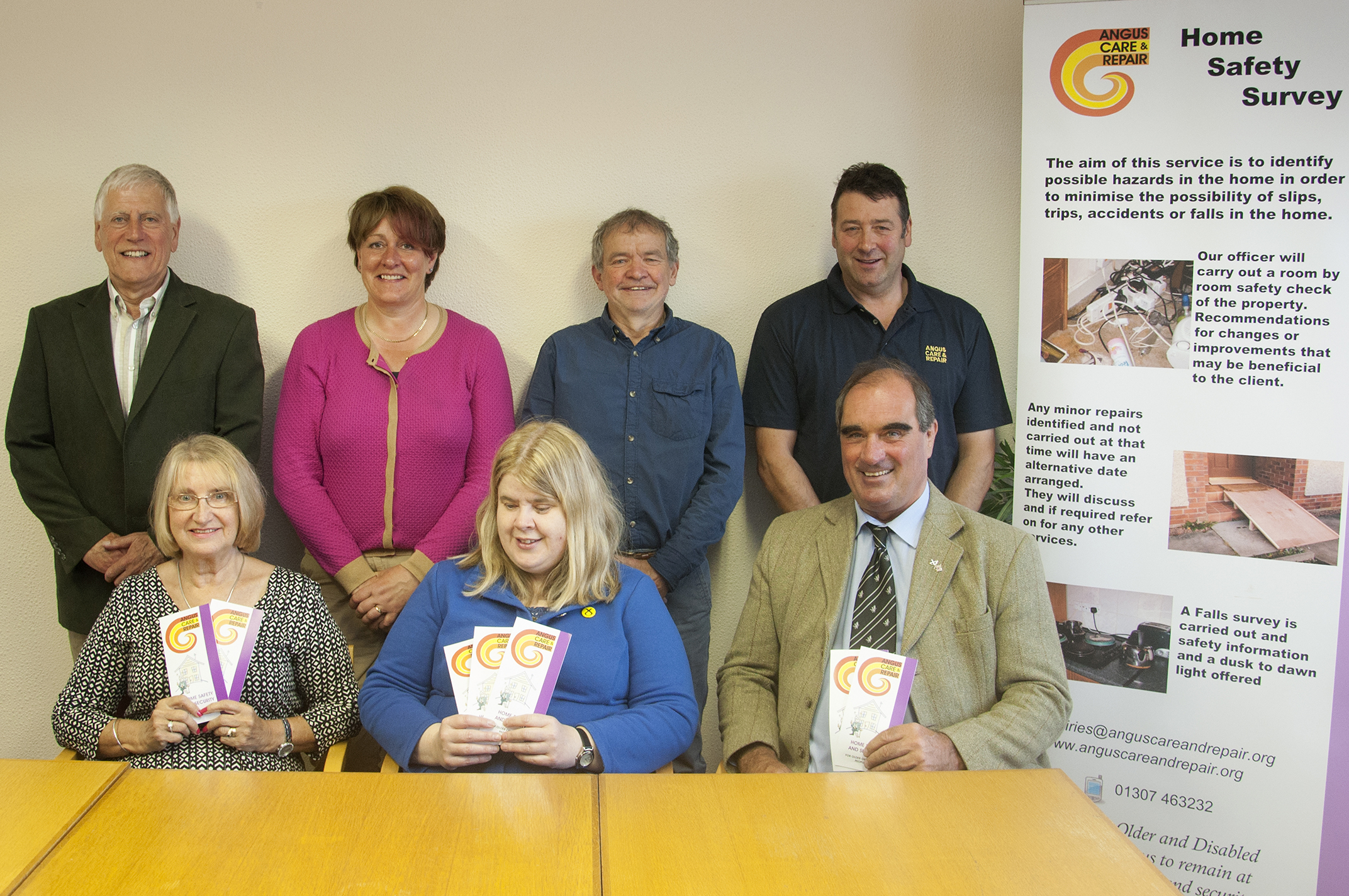 Members of the Angus Care and Repair board. Back (l-r) Jim Johnstone (chairman), Judith Leslie (manager) Calum McNicoll (vice chair) John Ness. Front (l-r) Margaret Mitchell MBE, Councillor Sheila Hands and Councillor Gavin Nicol.