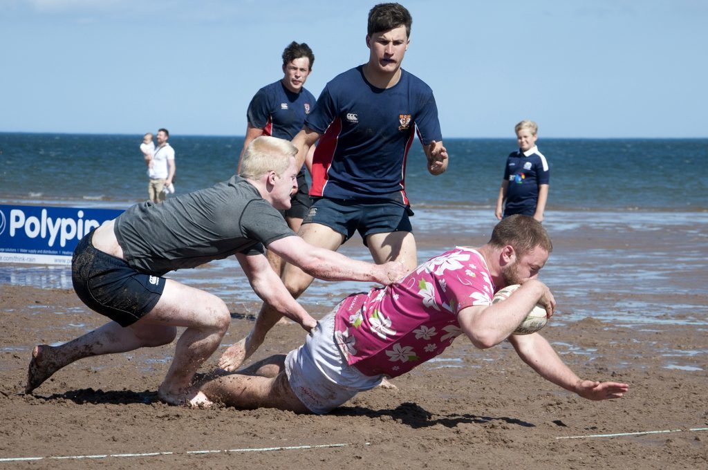 A try being scored at the Carnoustie Beach Rugby Anniversary.
