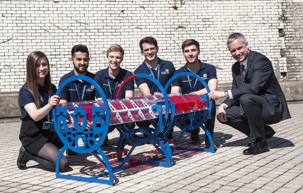 Strathclyde Engineering Students with the prototype Roll Over Bench, designed by Grace Finlay, for the Scottish Engineering Leaders Awards and Primary Engineer