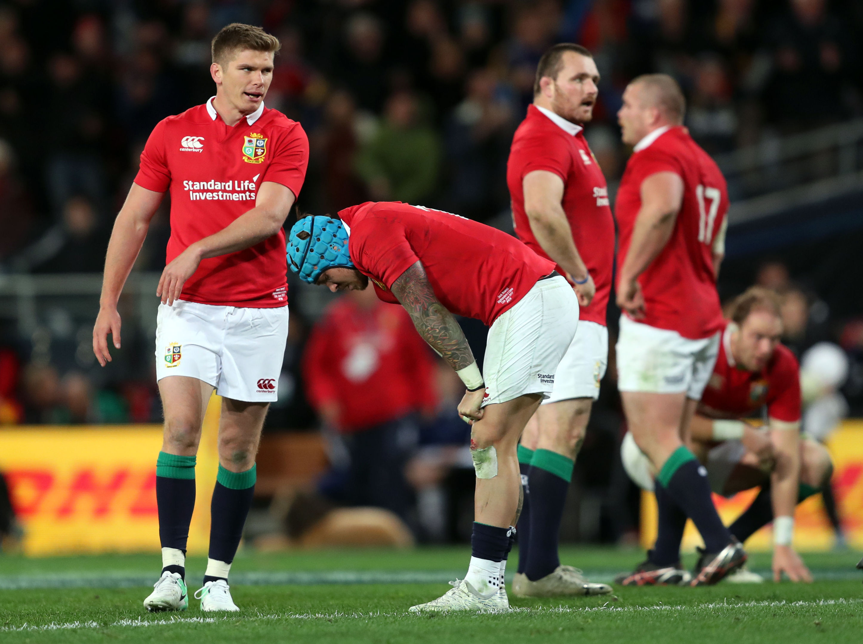 Owen Farrell and Jack Nowell are dejected after the loss to the Highlanders in Dunedin.