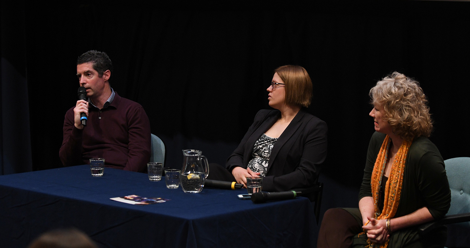 From left: Nicky Murray,  Dr Tamasin Knight and Dr Suzanne Zeedyk at the panel discussion following the screening.