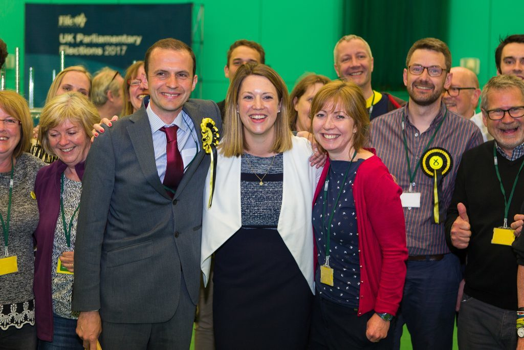 Congratulations all round at the Michael Woods Centre in Glenrothes as Stephen Gethins is finally declared the winner.
