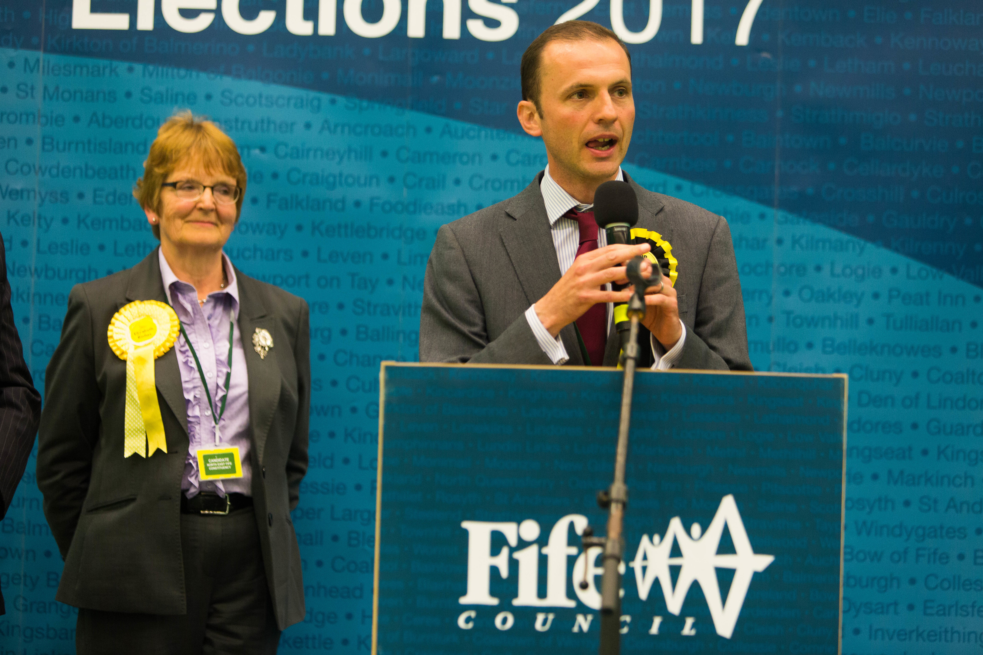 The SNP's Stephen Gethins retained his seat in North East Fife by just two votes, ahead of Liberal Democrat Elizabeth Riches.