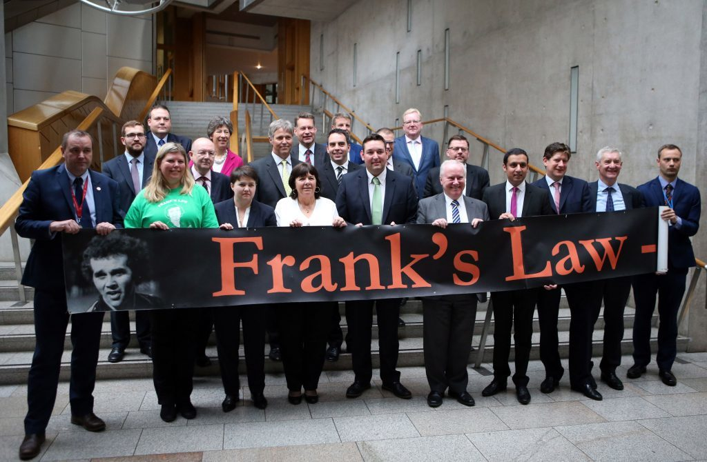 Cross-party MSPs join Amanda Kopel a Frank's Law bill is lodged at Holyrood.
