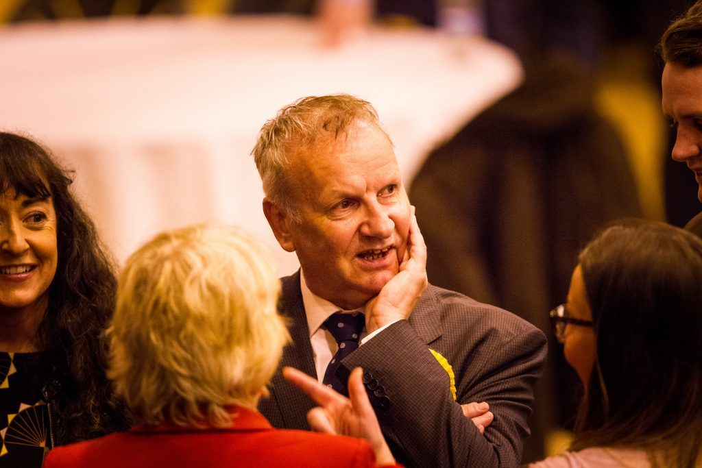 The SNP's Pete Wishart at the Bells Sports Centre, Perth as he defeated Ian Duncan by 21 votes.