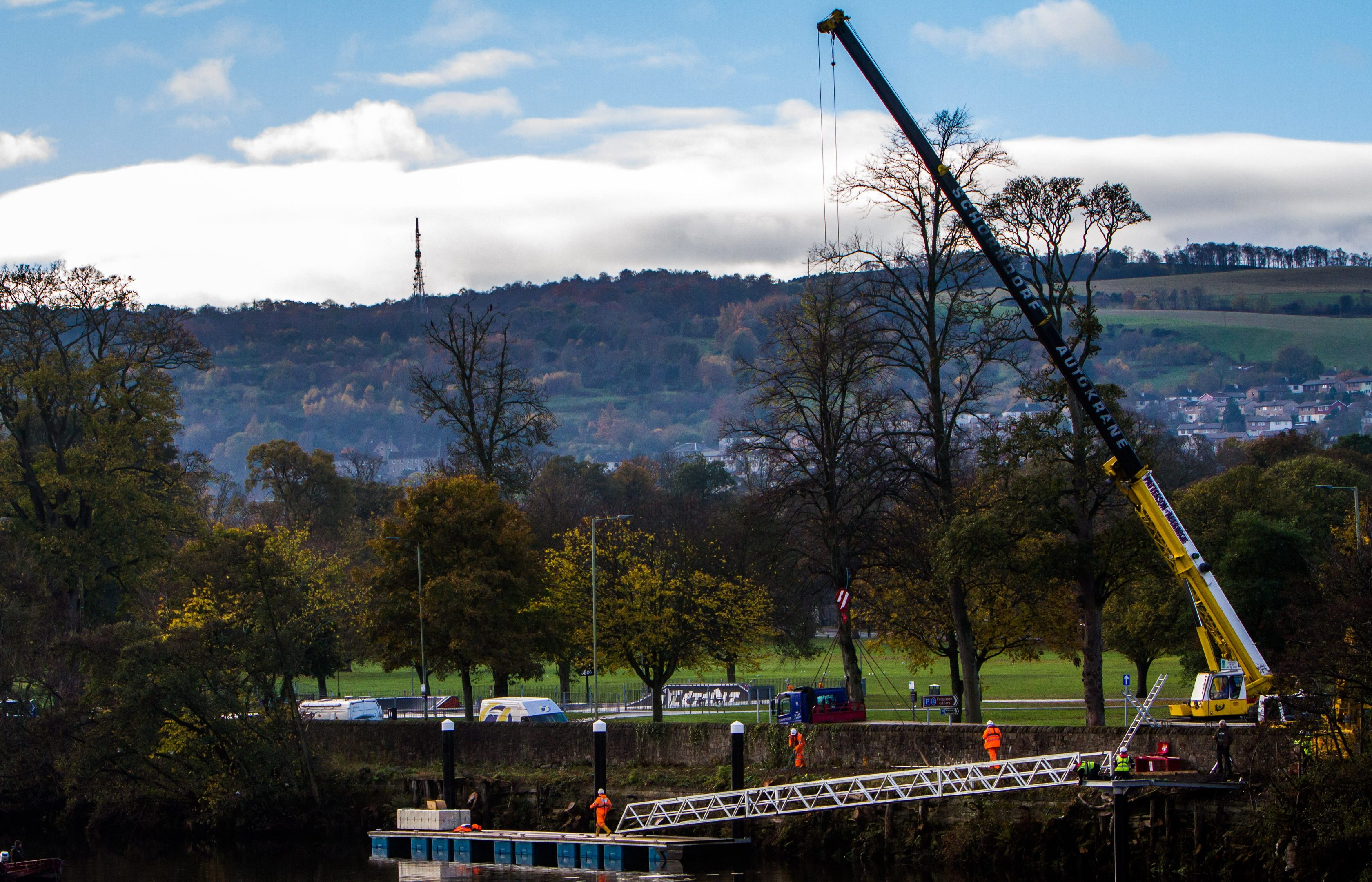 Engineers working on a pontoon on the River Tay in Perth.
