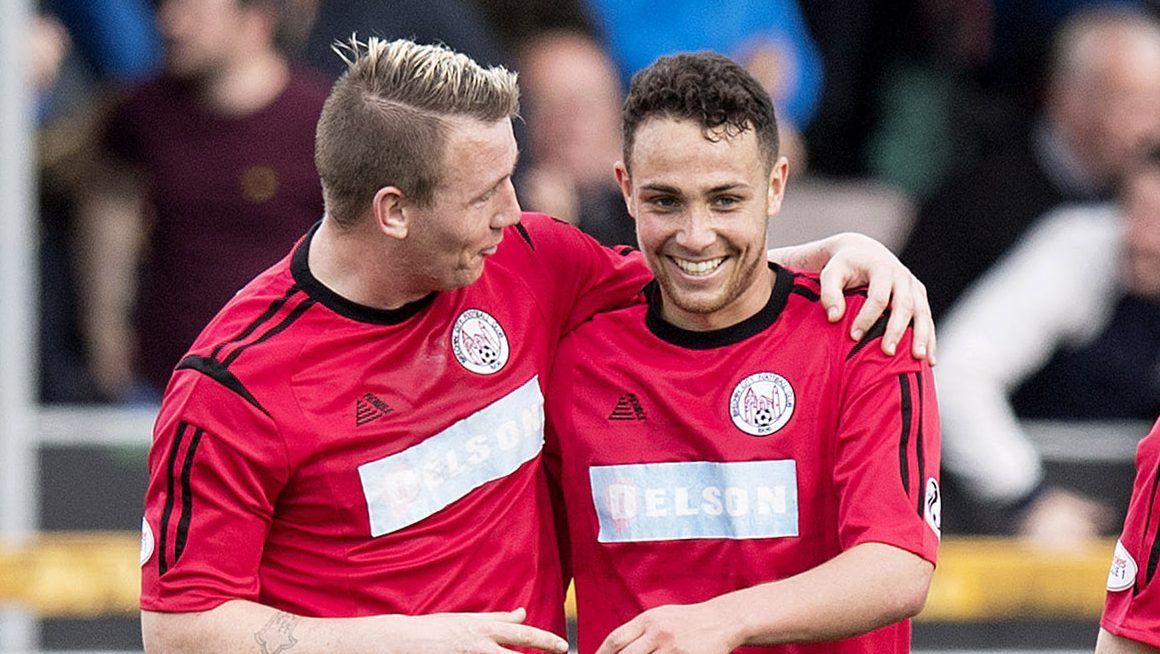 James Dale, right, celebrates his goal against Alloa with team-mate Andy Jackson.