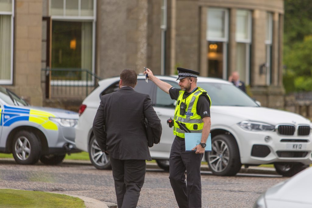 Police presence at the Gleneagles Hotel where a robbery has taken place.