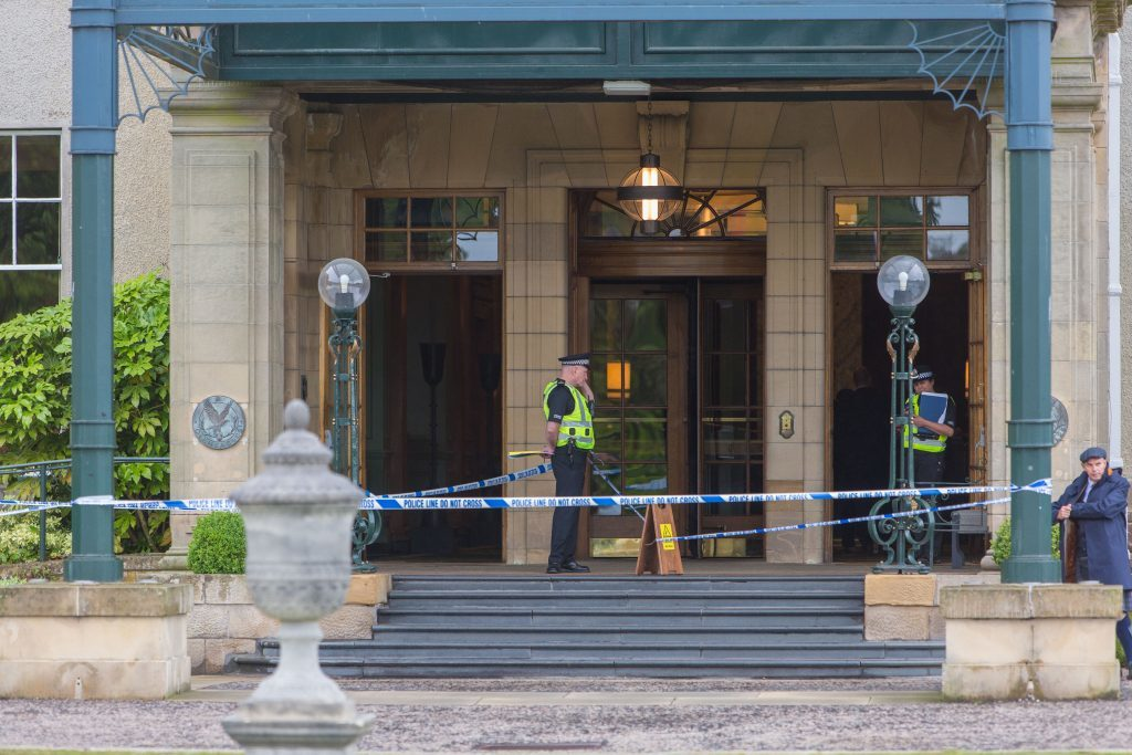 Robbery at Gleneagles Hotel causes an Armed Police Response hunting the criminal. - Picture Shows: Police presence at the Gleneagles Hotel where a robbery has taken place. - Tuesday 27 June 2017