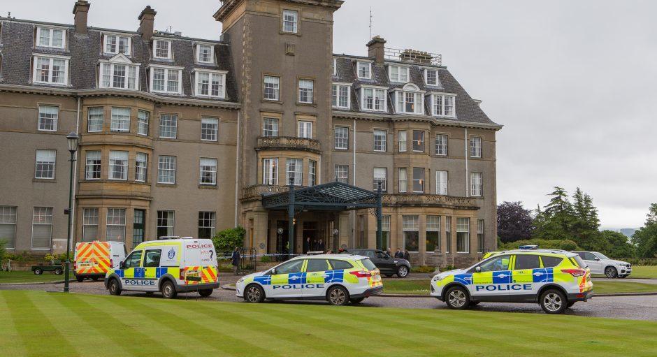 Police at the scene of the robbery at Gleneagles Hotel in June.