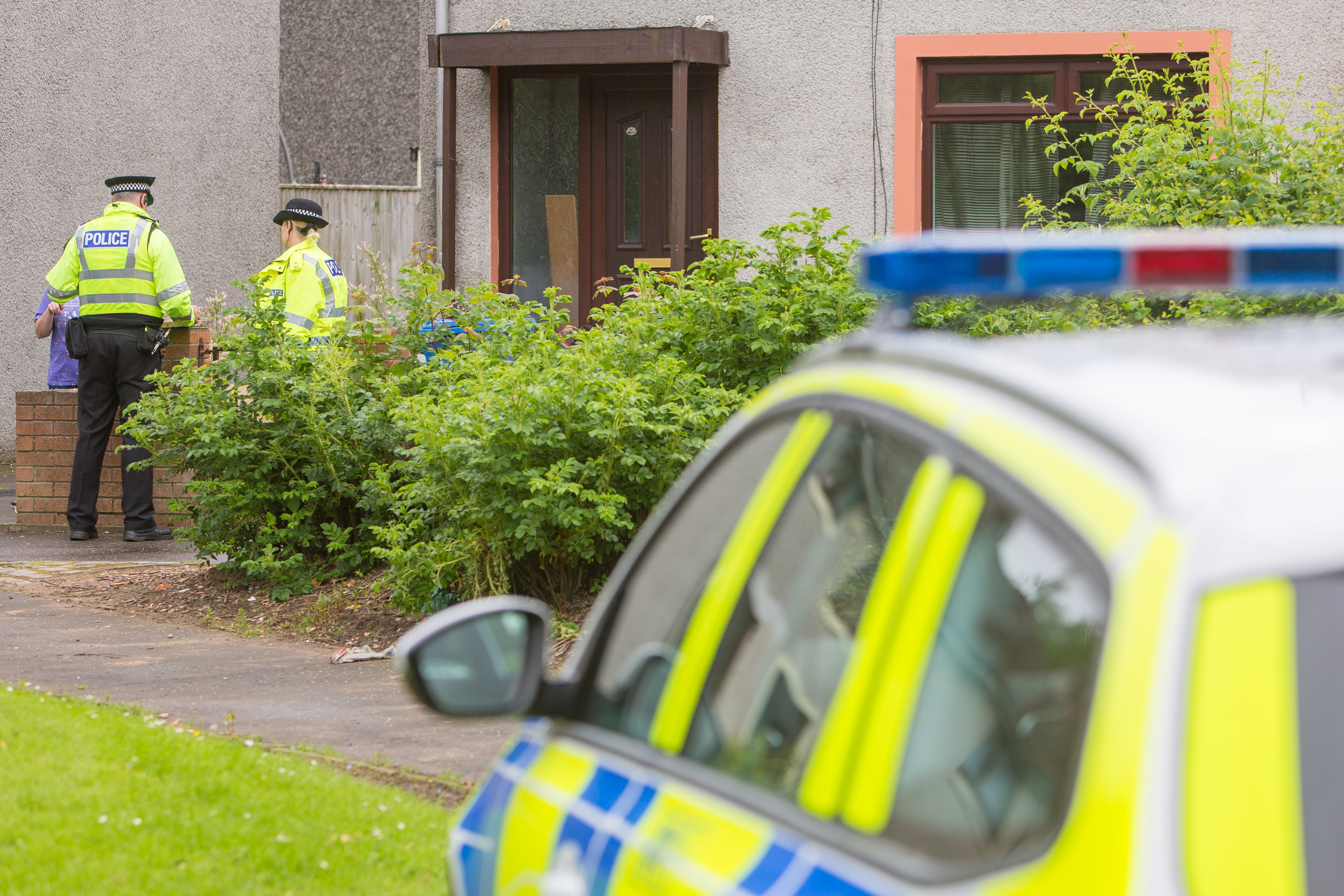 Police at the house in Barnton Place, Glenrothes.