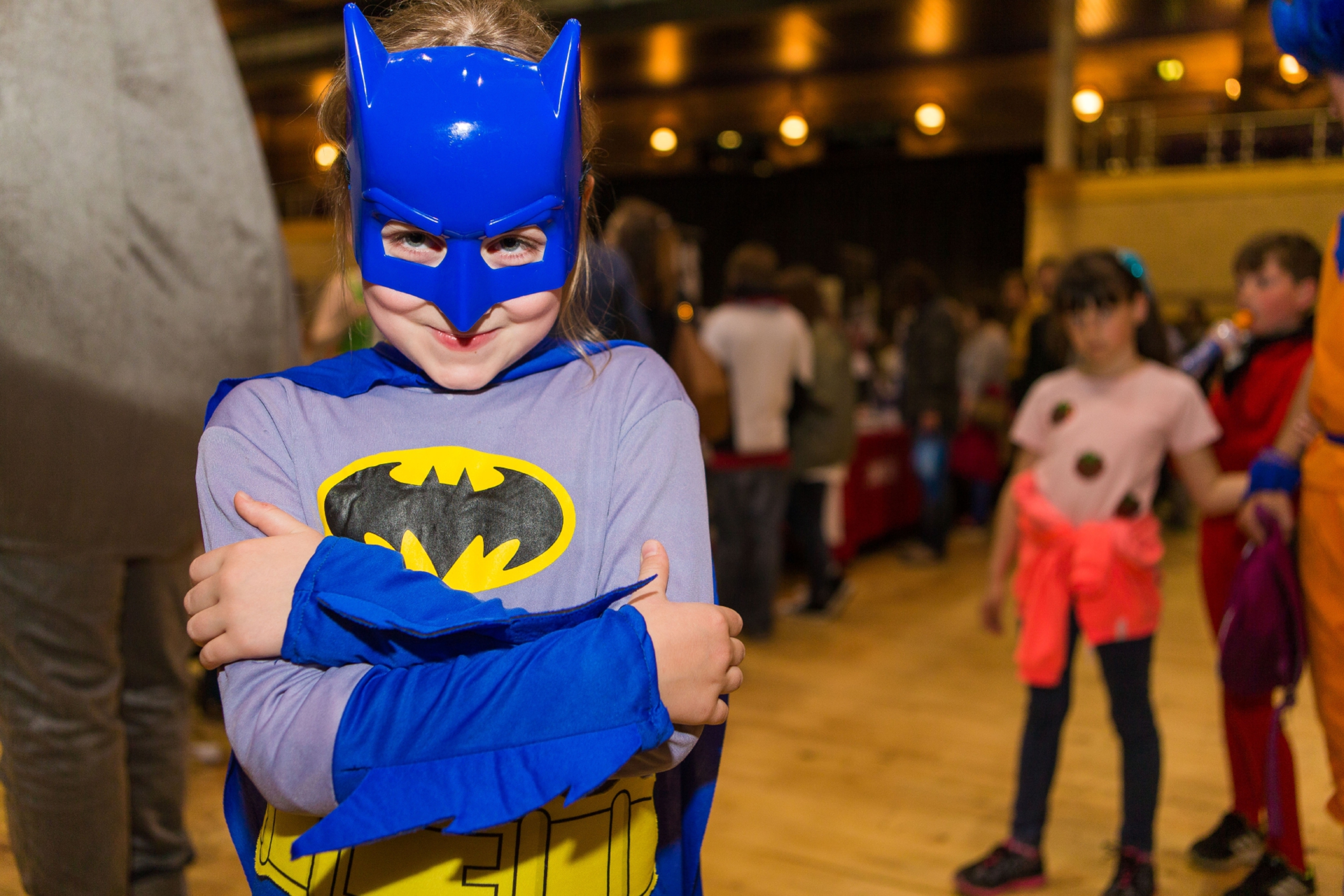 Beth Stewart (7) from Star as Batman at this month's Glenrothes Comic Con.