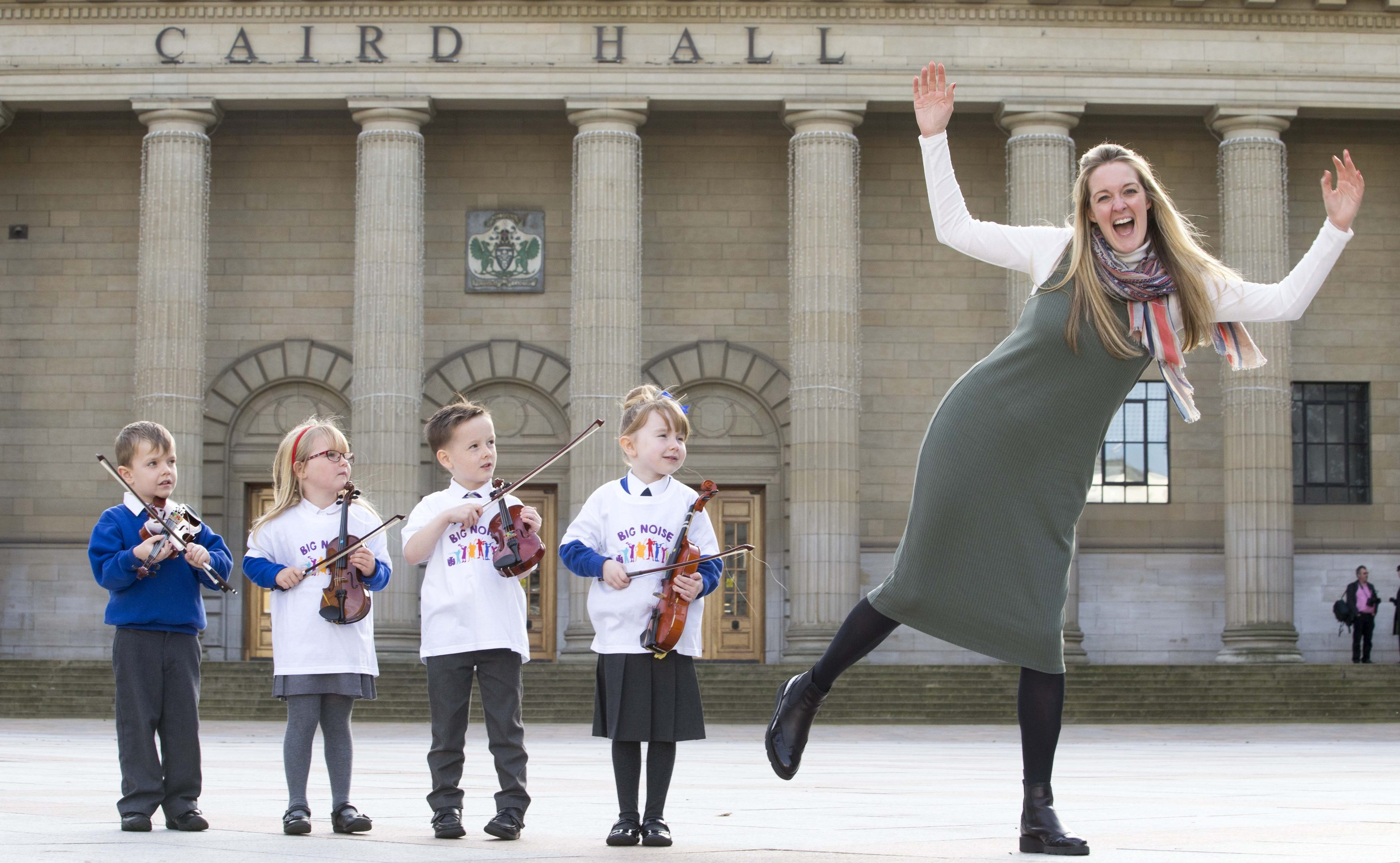 The launch of Big Noise Douglas took a major forward in May with the signing of the official partnership agreement between Sistema Scotland, Optimistic Sound and Dundee City Council.  Ryan Mackenzie, Bella Riddell, Rhylee Traynor and Caitlyn Bertie are pictured with Sistema Scotland chief executive Nicola Killean
