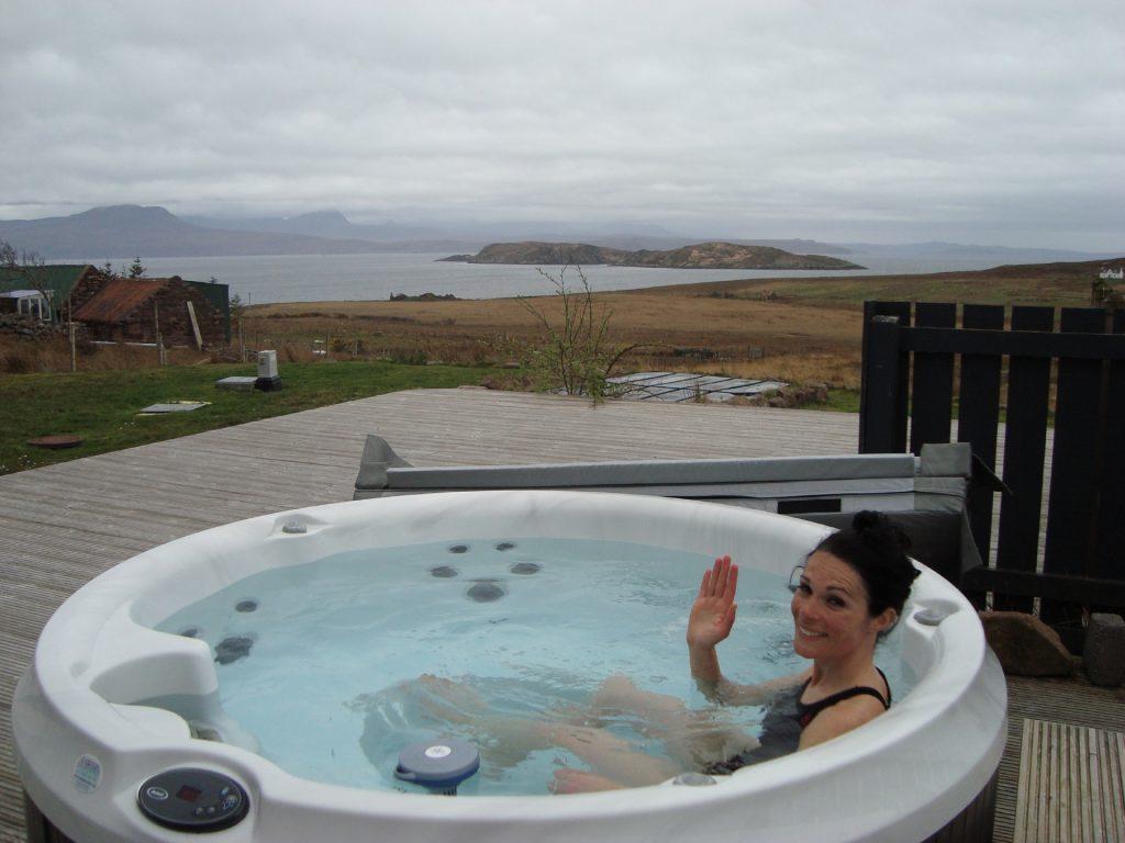 Gayle enjoying the hot tub!