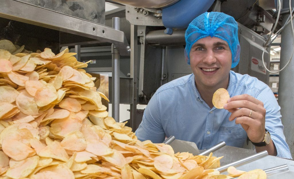 James Taylor, commercial director at Mackie's, with the strawberry crisps at Mackie's at Taypack.