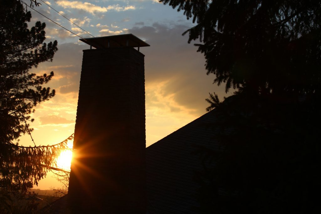 Sunset from the grim tower block of Vogelsang.