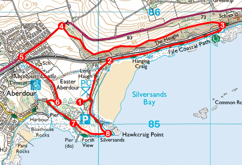 Take a Hike 168 - June 10, 2017 - Silver Sands, Aberdour, Fife OS map extract
