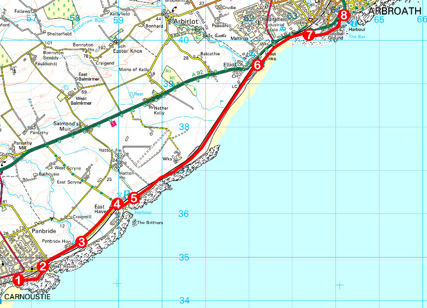 Take a Hike 170 - June 24, 2017 - Carnoustie to Arbroath, Angus OS map extract