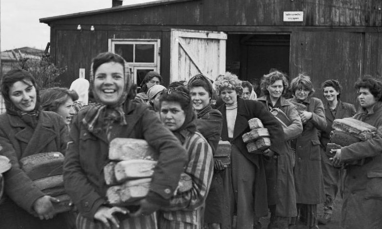 Women survivors in Bergen-Belsen, April 1945.