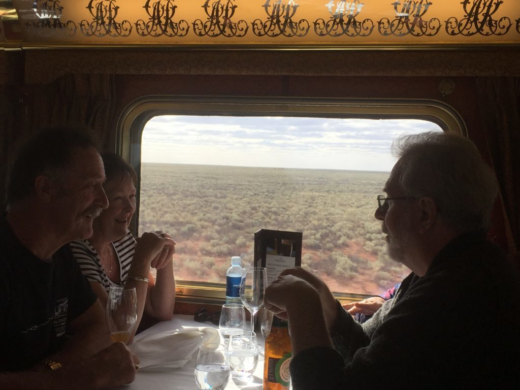 Dining on board the Indian Pacific.