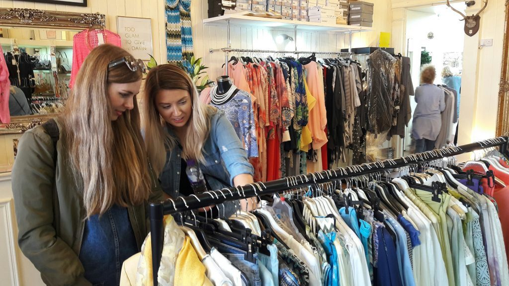 Stylist Zoe Radcliffe and Gillian Ball browsing clothes at Prego boutique in Broughty Ferry