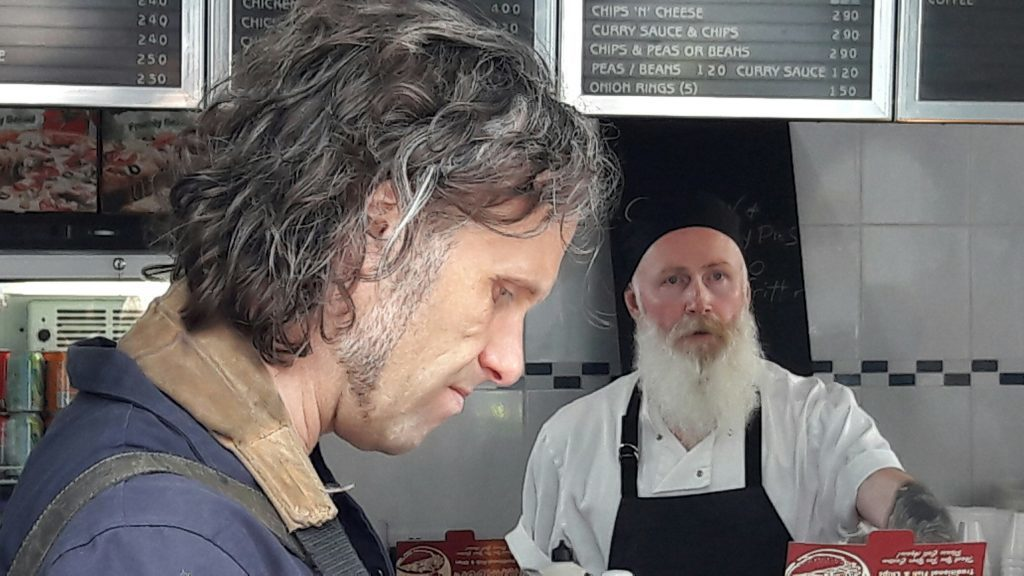 Director Martin Smith with actor Dave Dixon at Murray's chip shop in Broughty Ferry