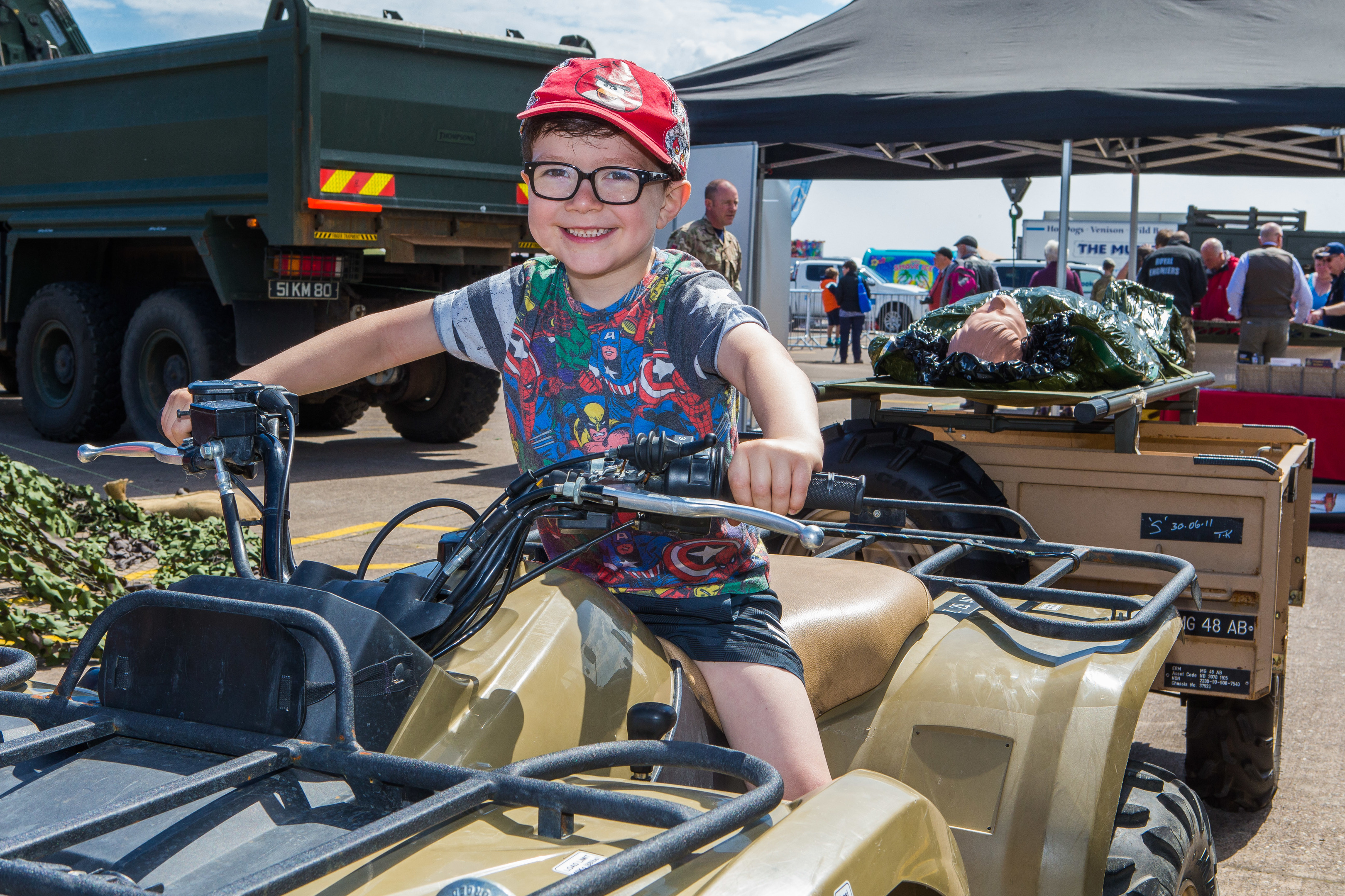 Owen Lovell, 5, from Leuchars, tries out a medical quad bike