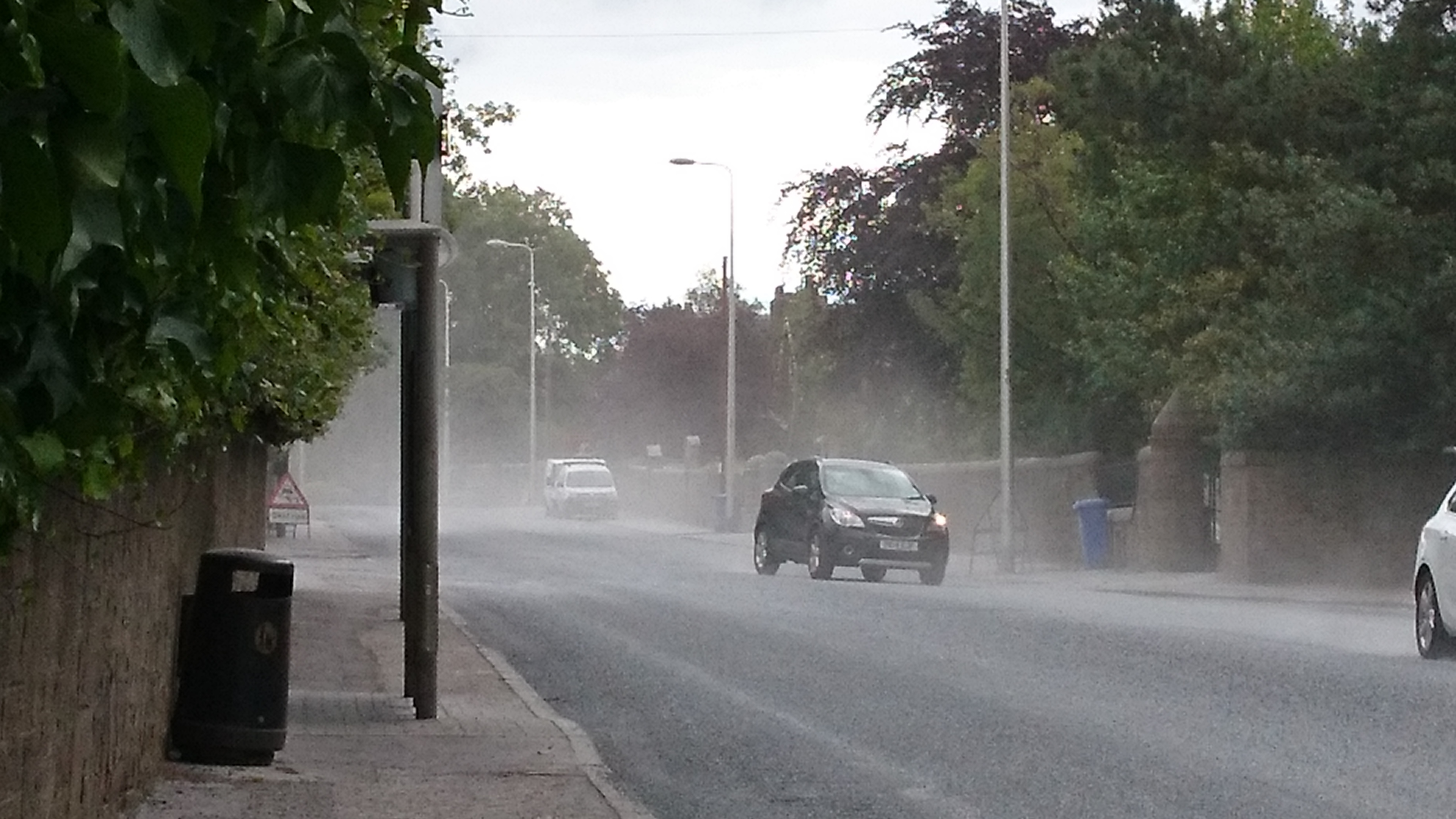 Dust kicked up on Perth Road.