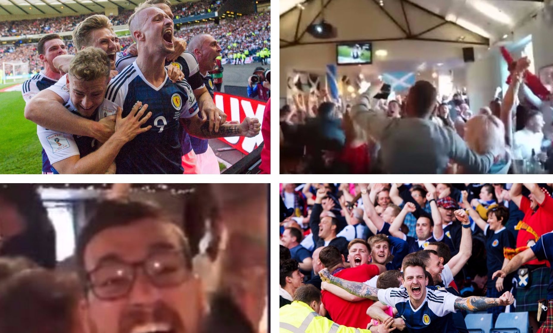 Scotland fans celebrate the Leigh Griffiths goals.