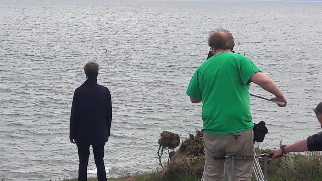 Filming on the cliffs at Arbroath