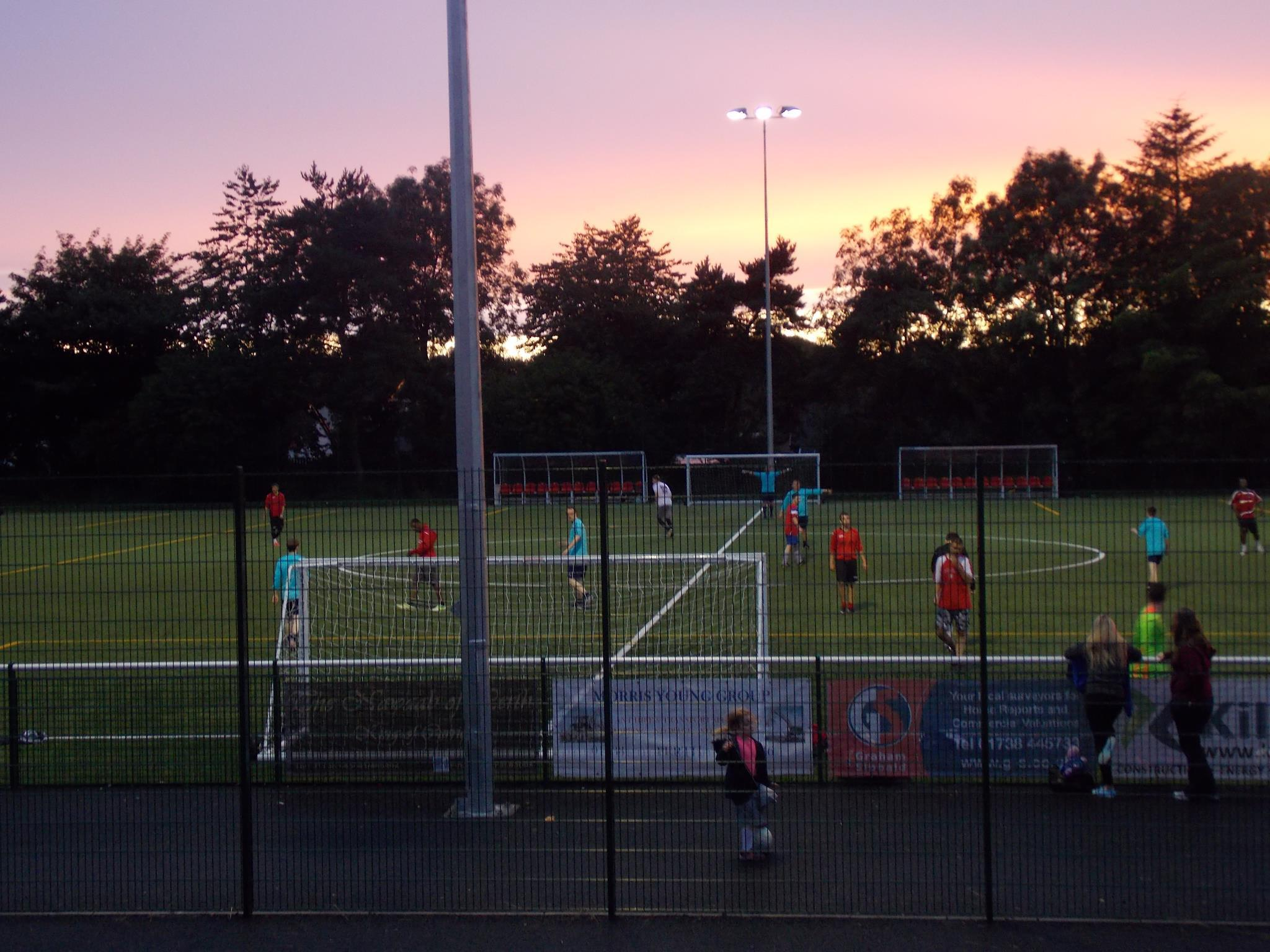 Football under the floodlights at Seven Acres in Perth, the £750,000 3G home of Letham Community Sports Club. Blairgowrie hopes to soon boast similar facilities.